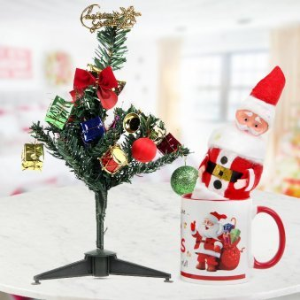 3 feet heavily adorned Christmas tree combines with the Happy Santa Mug and a cute Santa miniature
