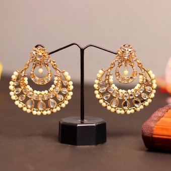 Classic Gold Plated Beaded Drop Earring