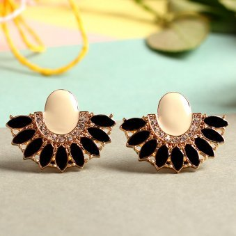 Gold Plated Black Flat Round Earrings