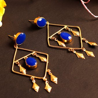 Gold Plated Blue Drop Earring