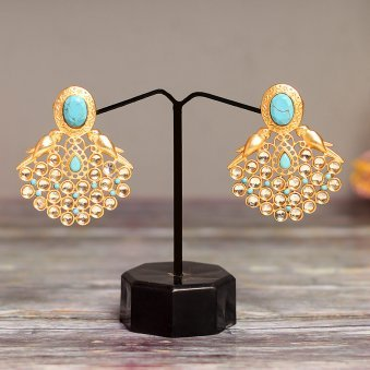 Gold Plated Blue Turquoise Earring