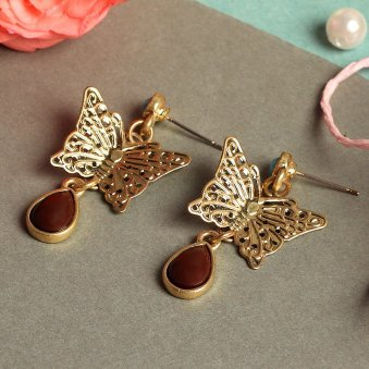 Gold Plated Butterfly Hanging Earring