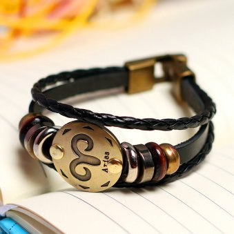 Golden Peacock Unisex Black & Antique Gold-Toned Aries Leather Bracelet