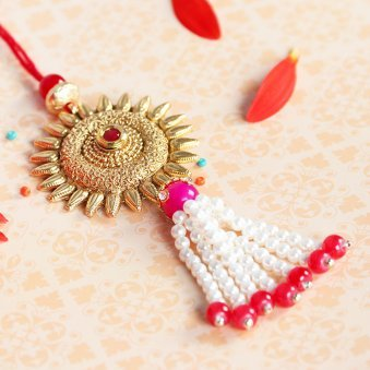 Golden Lumba Rakhi for Bhabhi