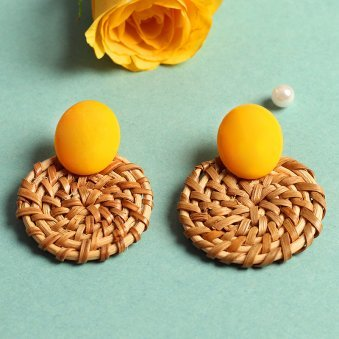 Cane Round Yellow Stud Earring