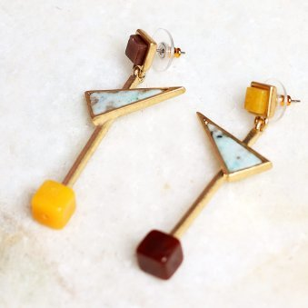 Golden Peacock Gold-Plated and Blue Geometric Mismatched Drop Earrings
