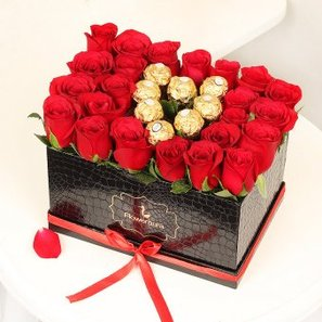 Red Roses with Chocolates Arrangement in a Black Box