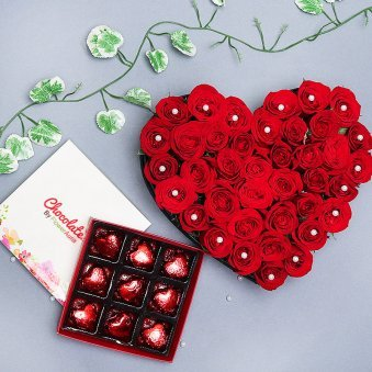 Combo of Thirty Five Red Roses with Chocolates