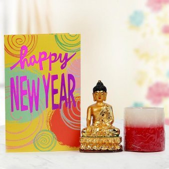 A 6 inches Lord Buddha Statue, A Scented Candle and a New Year Greeting Card