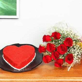 Grandiose Love - Combo of 12 Red roses and Heart shaped 1kg red velvet cake