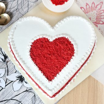 Gratifying Heart Shape Red Velvet Cake - Top View