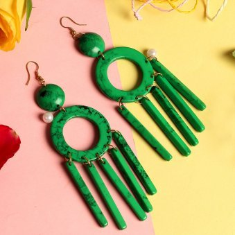 Green Resin Tassel Earring