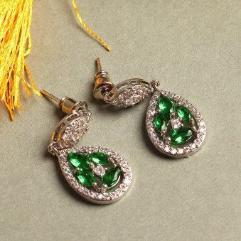 Silver-Plated and Green Teardrop Shaped Drop Earrings