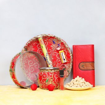 Karwa Chauth Thali with Dry Fruits and Clutch