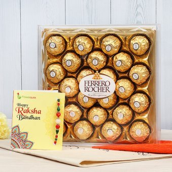 Rakhi with Twenty Four Ferrero Rochers in a Box