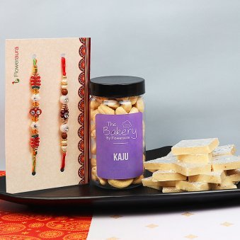 Set of Two Rakhis with Cashews and 500g Kaju Katli Combo