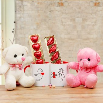 Heart Attraction - 2 Teddies and 2 Mugs with Chocolates Combo