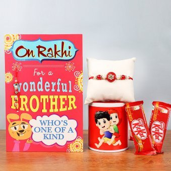 Rakhi with Greeting Card and Two Kitkats alongwith a Printed Mug