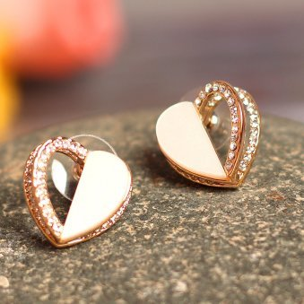 Golden Peacock White Heart Shaped Earring
