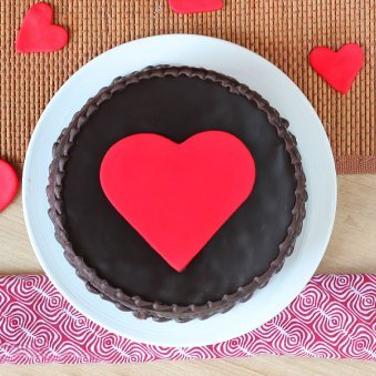 Heartfelt Desires - Choco Truffle Heart Cake - Top View