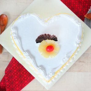 Heart Shaped Pineapple Flavored Cake - Top View