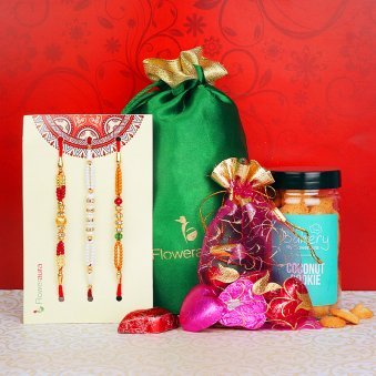 Set of Three Rakhis with Handmade Chocolates and Coconut Cookies Combo