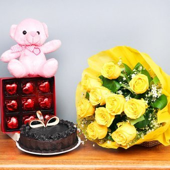 Half Kg Chocolate Cake Pink Teddy Nine Heart Shaped Chocolates Ten Yellow Roses Bunch