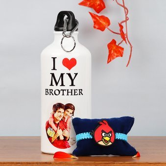 Personalised Bottle with Angry Bird Rakhi