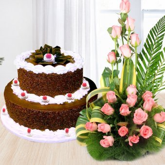 Heritage Black Forest combo - 2 tier black forest cake with 20 pink roses bouquet