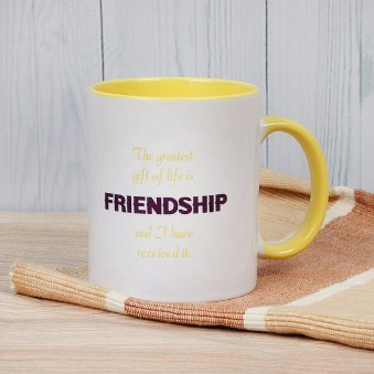 Printed Minion Mug for Best Friend with Front Side View