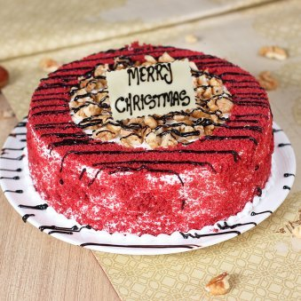 Red Velvet Walnut Christmas Cake