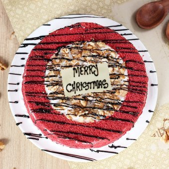 Red Velvet Walnut Christmas Cake - Top View