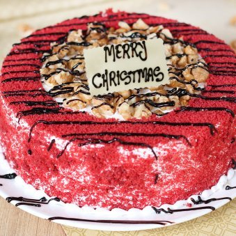 Red Velvet Walnut Christmas Cake - Zoom View