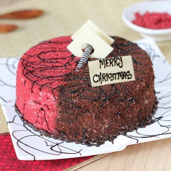 Chocolate Red Velvet Cake For Christmas Celebration