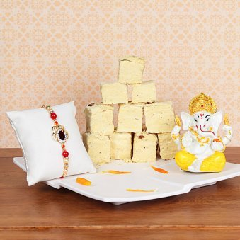 Rakhi and Soan Papdi with Ganesha Idol Gift Combo