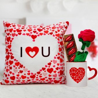 12x12 I LOVE YOU cushion Red & White little hearts Mug Pack of lip shaped Chocolate and velvet Rose