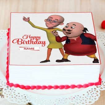 Motu Patlu Photo Cake - Zoom View