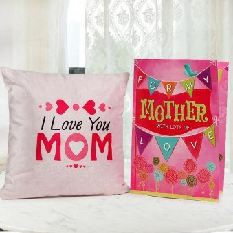 A Mothers Day Greeting Card with a Cushion