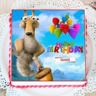 Kids Ice Age Photo Cake