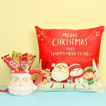 Christmas Cushion with Santa Mug and Chocolates