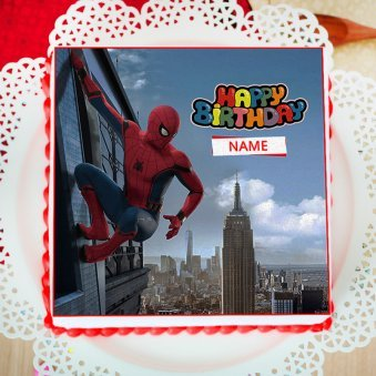 Spiderman Themed Birthday Photo Cake