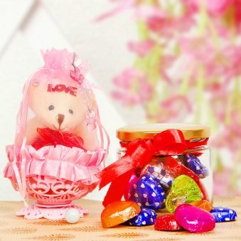 Beautiful teddy and chocolate gift