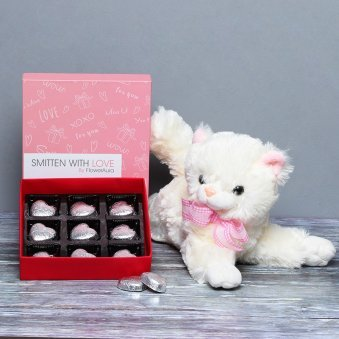 Cat Soft Toy with Heart Shaped Chocolates Combo
