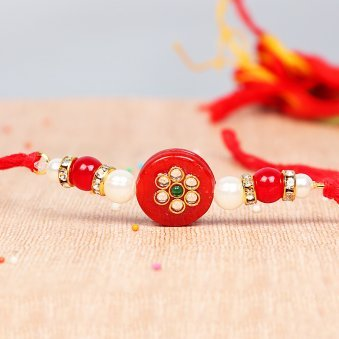 Kundan Bead Rakhi - Fancy Red Rakhi