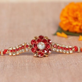 Kundan Floral Rakhi for Brother