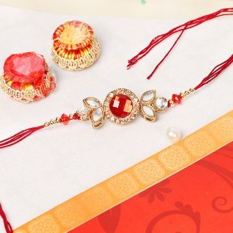 Red Stone Kundan Rakhi for Brother