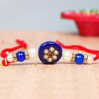 Kundan Studded Bead Rakhi - Fancy Blue Rakhi