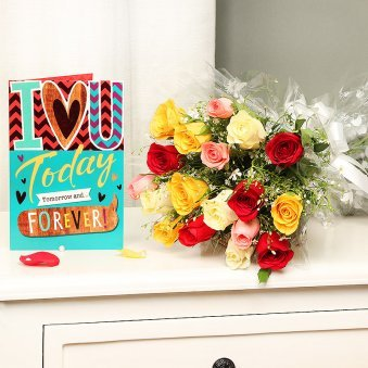Mixed Roses Bunch with Card Love Combo