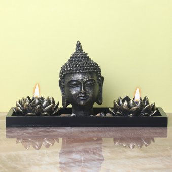 5 Inch Buddha Idol and 2 Diyas with Front View