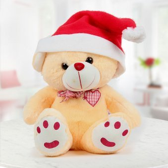12 inches tall Yellow teddy wearing a Santa cap